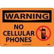 Warning, No Cellular Phones, Graphic, 10X14, .040 Aluminum