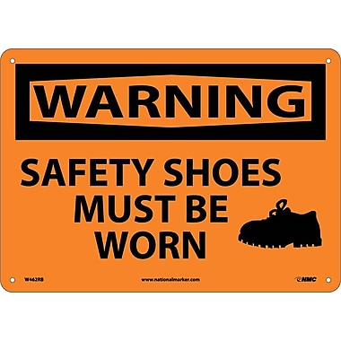 Warning, Safety Shoes Must Be Worn, Graphic, 10X14, Rigid Plastic