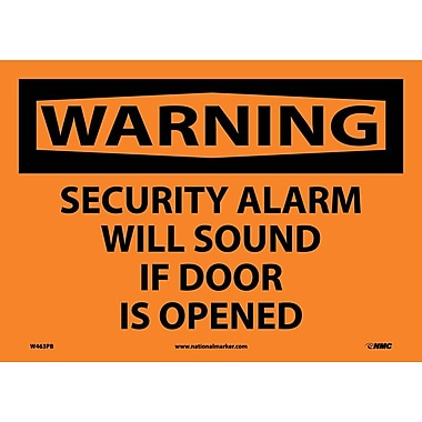 Warning, Security Alarm Will Sound If Door Is Opened, 10X14, Adhesive Vinyl