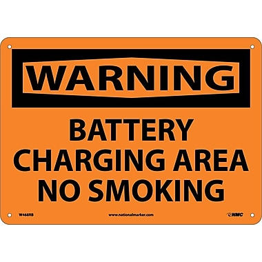 Warning, Battery Charging Area No Smoking, 10X14, Rigid Plastic