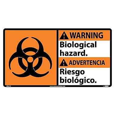 Warning, Biological Hazard (Bilingual W/Graphic), 10X18, Adhesive Vinyl