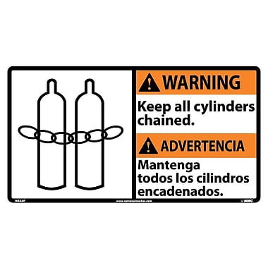 Warning, Keep All Cylinders Chained (Bilingual W/Graphic), 10X18, Adhesive Vinyl