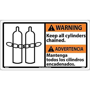 Warning, 10 X 18 Warning Keep All Cylinders (Bilingual W/Graphic), 10X18, Rigid Plastic