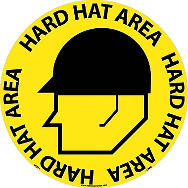 Floor Sign, Walk On, Hard Hat Area, 17in. Dia