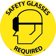"Floor Sign, Walk On, Safety Glasses Required, 17"" Dia"