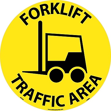 Floor Sign, Walk On, Forklift Traffic Area, 17in. Dia