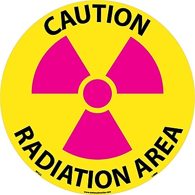 Floor Sign, Walk On, Caution Radiation Area, 17 Dia, Ps Vinyl