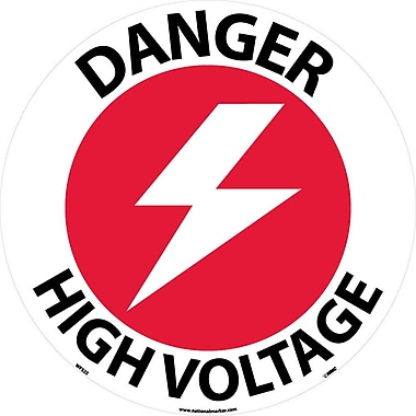 Floor Sign, Walk On, Danger High Voltage, 17 Dia, Ps Vinyl