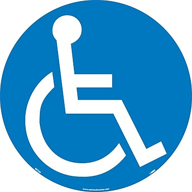 Floor Sign, Walk On, Handicapped Symbol, 17 Dia, Ps Vinyl
