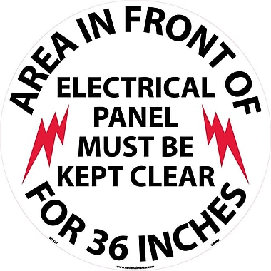 Floor Sign, Walk On, Area In Front Of Electrical Panel Must Be Kept Clear For