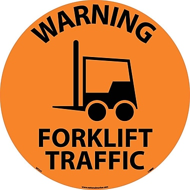 Floor Sign, Walk On, Warning Forklift Traffic, 17 Dia, Ps Vinyl