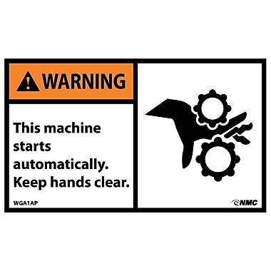 Warning, This Machine Starts Automatically..(Graphic), 3X5, Adhesive Vinyl, 5/Pk