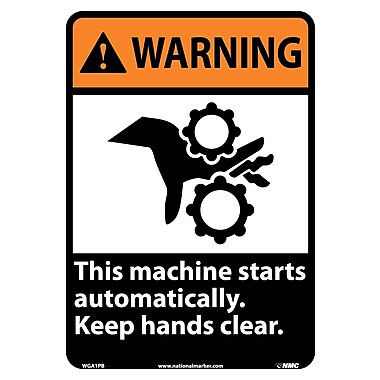 Warning, This Machine Starts Automatically Keep Hands Clear with Graphic, 14