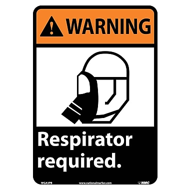 Warning, Respirator Required (W/Graphic), 14X10, Adhesive Vinyl