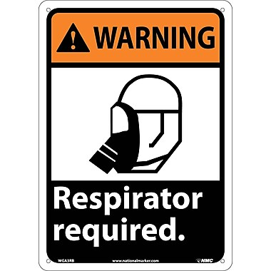 Warning, Respirator Required (W/Graphic), 14X10, Rigid Plastic