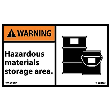 Warning, Hazardous Materials Storage Area (Graphic), 3X5, Adhesive Vinyl, 5/Pk