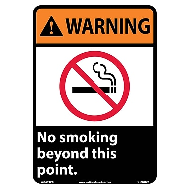 Warning, No Smoking Beyond This Point, 14X10, Adhesive Vinyl