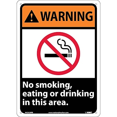 Warning, No Smoking, Eating Or Drinking In This Area, 14X10, Rigid Plastic