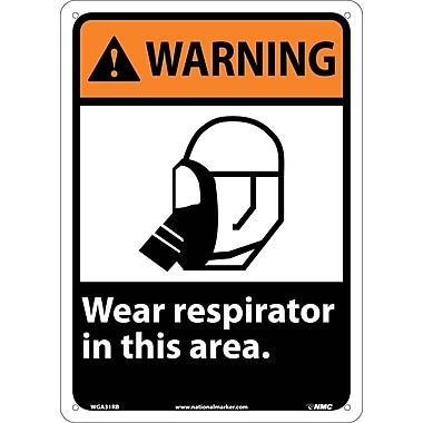 Warning, Wear Respirator In This Area, 14X10, Rigid Plastic
