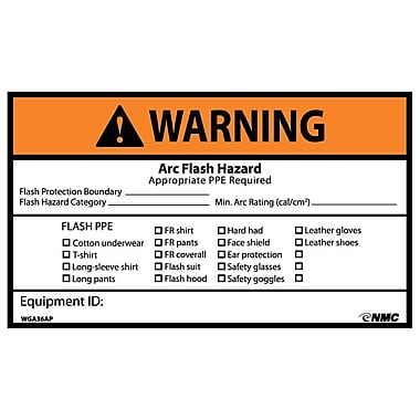 Warning, Arc Flash Hazard Appropriate Ppe Required, 3X5, Adhesive Vinyl, 5/Pk