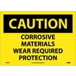 Caution, Corrosive Materials Wear Required Protection, 10X14, Adhesive Vinyl