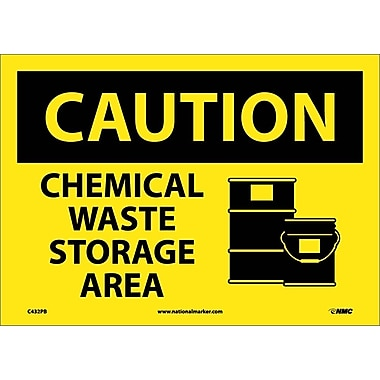 Caution, Chemical Waste Storage Area, Graphic, 10X14, Adhesive Vinyl