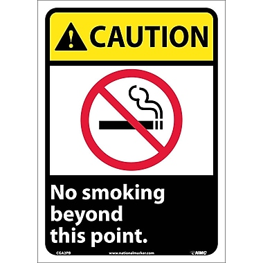 Caution, No Smoking Beyond This Point (W/Graphic), 14X10, Adhesive Vinyl