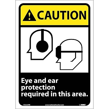 Caution, Eye And Ear Protection Required In This Area, 14X10, Adhesive Vinyl