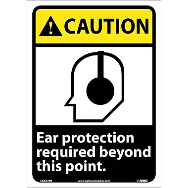 Caution, Ear Protection Required Beyond This Point, 14X10, Adhesive Vinyl