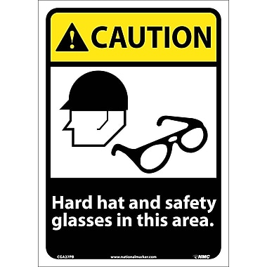 Caution, Hard Hat And Safety Glasses In This Area, 14X10, Adhesive Vinyl