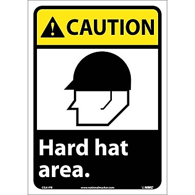 Caution, Hard Hat Area (W/Graphic), 14X10, Adhesive Vinyl