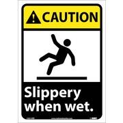 Caution, Slippery When Wet (W/Graphic), 14X10, Adhesive Vinyl