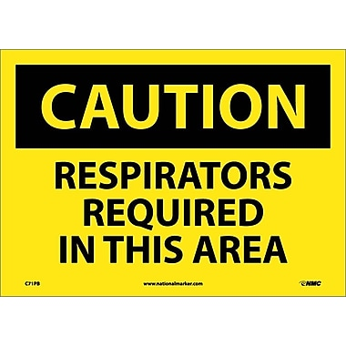 Caution, Respirators Required In This Area, 10X14, Adhesive Vinyl