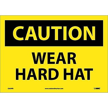 Caution, Wear Hard Hat, 10X14, Adhesive Vinyl