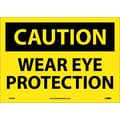Caution, Wear Eye Protection, 10X14, Adhesive Vinyl