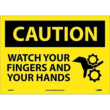 Caution, Watch Your Fingers And Your Hands, 10X14, Adhesive Vinyl
