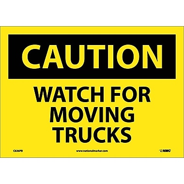Caution, Watch For Moving Trucks, 10X14, Adhesive Vinyl