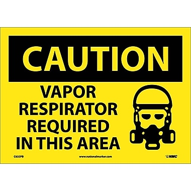 Caution, Vapor Respirator Required In This Area, Graphic, 10X14, Adhesive Vinyl