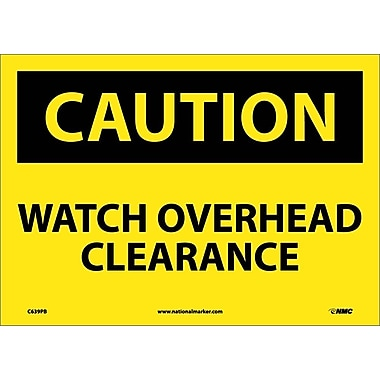 Caution, Watch Overhead Clearance, 10X14, Adhesive Vinyl