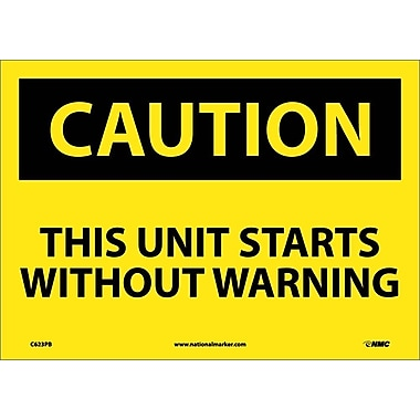 Caution, This Unit Starts Without Warning, 10X14, Adhesive Vinyl
