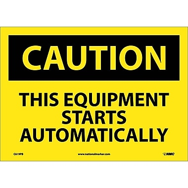 Caution, This Equipment Starts Automatically, 10X14, Adhesive Vinyl