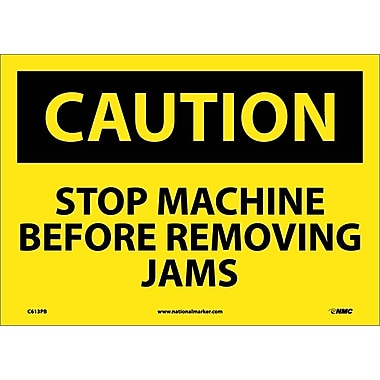 Caution, Stop Machine Before Removing Jams, 10X14, Adhesive Vinyl