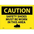 Caution, Safety Shoes Must Be Worn In This Area, Graphic, 10X14, Adhesive Vinyl