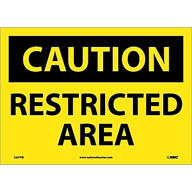 Caution, Restricted Area, 10X14, Adhesive Vinyl