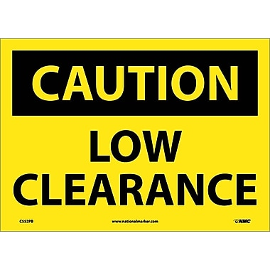 Caution, Low Clearance, 10X14, Adhesive Vinyl