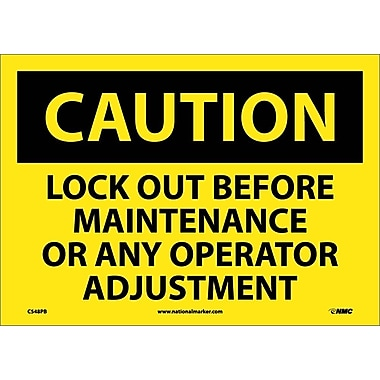 Caution, Lock Out Before Maintenance Or Any Operator Adjustment, 10X14, Adhesive Vinyl