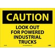 Caution, Look Out For Powered Industrial Trucks, 10X14, Adhesive Vinyl