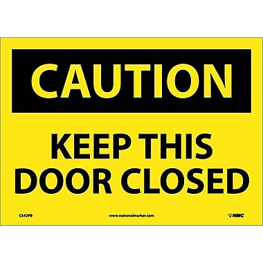 Caution, Keep This Door Closed, 10X14, Adhesive Vinyl
