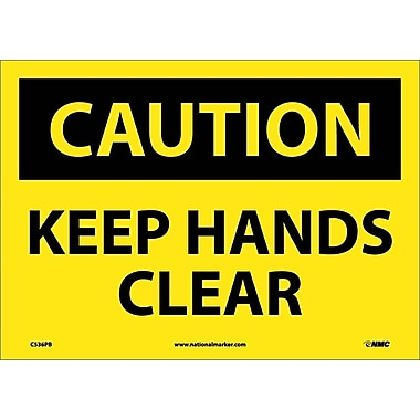 Caution, Keep Hands Clear, 10X14, Adhesive Vinyl