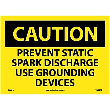 Caution, Prevent Static Spark Discharge Use Grounding Devices, 10X14, Adhesive Vinyl